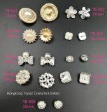 Tecla redonda da pérola das teclas dos Rhinestones da prata 22mm da decoração do casamento (TB-100)