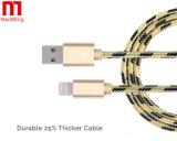 Haltbares Gewebe-umsponnenes Nylon USB-Daten-Synchronisierungs-Kabel-aufladennetzkabel für iPhone