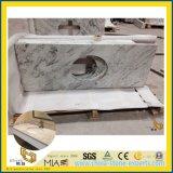 Partie supérieure du comptoir blanche de pierre de granit de fleuve pour la salle de bains d'hôtel, modèle de cuisine