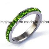 El color de la joyería de Shineme empiedra el anillo de dedo del acero inoxidable (CZR2574)