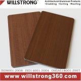 Panneau composite en aluminium Finition en grain de bois pour mur-rideau