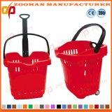 Cesta de compra plástica do preço barato com rodas (Zhb28)