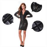 Longue robe de bandage de chemise de robe noire de bandage