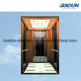 800kg de acero inoxidable espejo elevador de pasajeros con pasamanos