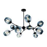 Vetro nordico di figura della molecola della lampada del lampadario a bracci del LED il multi si ramifica indicatore luminoso del pendente dell'indicatore luminoso di goccia