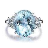De blauwe Juwelen van de Manier van de Ring Zircon van de AMERIKAANSE CLUB VAN AUTOMOBILISTEN van de Ring van de Vlinder van de Steen van de Topaas Witgoud Geplateerde Kubieke