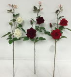 Fleurs artificielles de 3 chefs Rose 94cm Gu-S80068