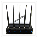 Estacionario 5 bandas Aislador / Jammer / Blocker de la señal; 50 metros GSM, 3G, 4G, señal Jammer GPS, Adustable 5 Antena de aislamiento de la señal del teléfono móvil