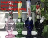 Skull Head Straight Smoking Water Glass Pipes com quatro cores