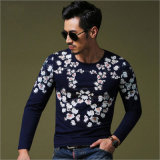 Algodón de manga larga de algodón de ajuste delgado ocio / casual camiseta