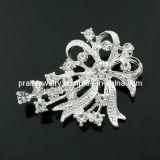 La primavera de la moda de joyería fina de plata aleación chapado /2013 Diseño de Flor claro Estrás allanado Brooch Ecológico (PBr-012)
