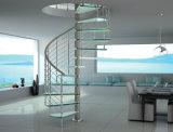 鋼鉄ガラス螺線形階段ガラス手すりのステンレス鋼のガラス柵