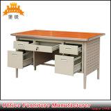 Стол офиса таблицы деревянной верхней части и двойной мебели постамента стальной