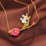 Luxe romantische Blumen-Halskette für Frauenlovebird-Kirschblüten-Halsketten-hochwertige Partei-Schmucksachen für Damen