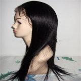 Em linha reta de 100% natural de cabelo humano Lace Front Peruca com cabelos de bebé