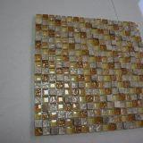 Mosaico blu della decorazione della parete delle mattonelle di mosaico del metallo della miscela di cristallo di nuovo disegno