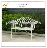 Banc blanc antique de jardin de fer de 2 Seater Wroght