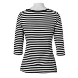 Meia mangas T-shirt preto e branco das listras para mulheres