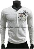 ゴム製プリントを持つ人のための粗紡糸の綿のTシャツ