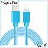 Tipo-c azul 3.1 ao cabo de nylon trançado cobrando dos dados do relâmpago
