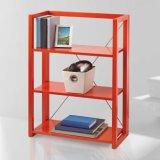 多彩で赤い黒いマツ木の折る本だなの居間の家具の木の家具