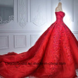 Vestidos nupciais Z2012 do casamento vermelho luxuoso do bordado dos vestidos de esfera