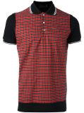 Chemise de polo de vérification du guingan des hommes avec les chemises courtes