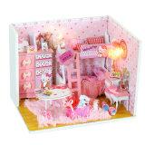 La venta al por mayor juega la casa de muñeca de madera barata del juguete del color de rosa de bebé