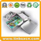 Rectángulo de plata del estaño del metal para los rectángulos de almacenaje de tarjeta de batería