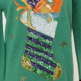 Prenda de Natal da suéter de Ladeis em bordados elétricos e bordados em grânulos e qualidade acrílica Mão de mão suave