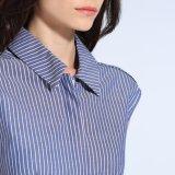 方法女性の余暇の細い縞の袖なしの小型のTシャツの衣服の服