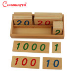 Petit nombre de cartes avec boîte en bois (1-1000) Puzzle en bois de matériaux de jouets éducatifs Montessori