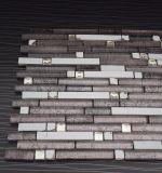 Brown ha mescolato il mosaico di striscia di pietra di vetro popolare decorativo bianco