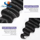 Cabelo Curly peruano da onda profunda peruana não processada peruana do cabelo do Virgin