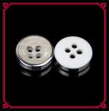 Camisa do botão da resina Botão branco UV da pérola