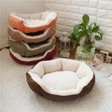브라운 산호 우단 면 연약한 원형 개 침대