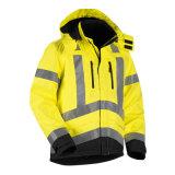 Chaqueta impermeable de la seguridad reflexiva del Vis de los hombres hola en amarillo/negro