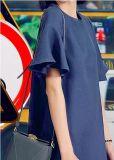 Plaine et robe de chemise des femmes courts simples ordonnés de Rond-Collet