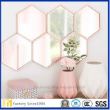 Espejo hexagonal decorativo de la pared de la pared superior 5m m al por mayor
