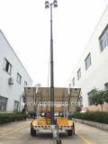 Mástil telescópico neumática recargable IP65 de la construcción de 12V portátiles baratos de remolque de la torre de luz solar, el móvil de la torre de luz LED