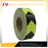 Seta PVC Seta Fita de advertência reflexiva de segurança, Fluorescência Amarelo / Preto