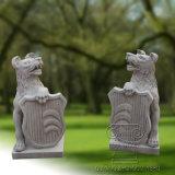Statua di pietra animale della scultura della pietra del marmo del cane del lupo