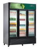 Trois porte en verre de boisson Refroidisseur Refroidisseur d'affichage congélateur
