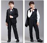 子供のスーツのタキシードの白黒カラー