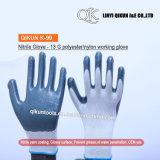 K-99 13ゲージポリエステルナイロン綿のニトリルの上塗を施してある安全働く手袋