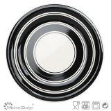 Insieme di pranzo di ceramica del cerchio nero