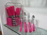 24PCS het Bestek van het Diner van het roestvrij staal met Kleurrijk Plastic Handvat Nr wordt geplaatst dat. CT24-P08