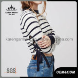 Ladies Side Tie Striped Jumper Vêtements de mode