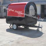 揚げられていたアイスクリーム機械が付いている漫画のハンバーガーの食糧トレーラー