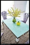 現代ホーム居間の家具のガラス上のステンレス鋼のダイニングテーブルセット
